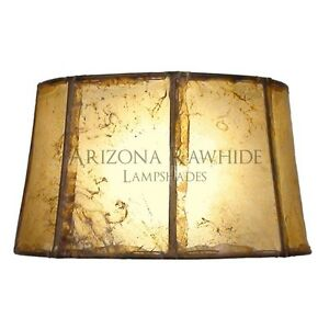 "Southwestern Rawhide - Leather Lamp Shade-7""Hx13""Wx11"" Top -Natural Color"