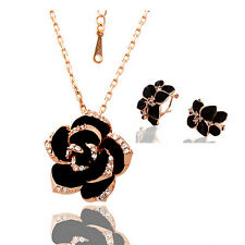 18k Rose Gold Plated GP SWAROVSKI CRYSTAL Rose Necklace/Earrings Sets S353
