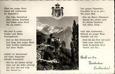 Vaduz Fürstentum Liechtenstein Grußkarte ~1950/60 Schloß Text Liechtenstein Lied