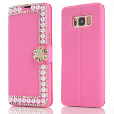 Slim Women's Phone Case Bling Diamond Pearl Flip Wallet Cover for Samsung Galaxy