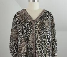 Womens M Dress Shirt Career Top Sheer Animal Print V Neck Button Down Blouse Med