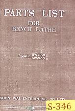 Shen Wai Sw350b And Sw900b Bench Lathe Parts Manual