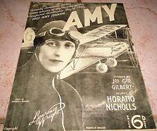 AMY JOHNSON Aviator & Airplane Jason UK to Australia 1930 Sheet Music !