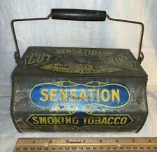 ANTIQUE SENSATION SMOKING TOBACCO CUT PLUG TIN LITHO LUNCH BOX PAIL STYLE CAN