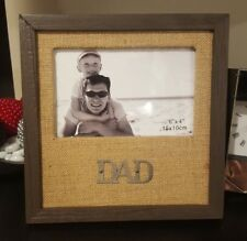 Timber Wooden Square 'Dad' Photo Frame 6x4- Home Decor Gift Fathers Day Birthday