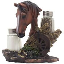Horse Salt Pepper Shaker Set Kitchen Decor Western Horseshoe Gift 3 Pc Set New
