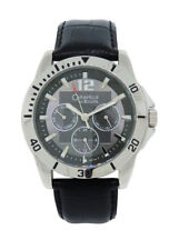 Caravelle by Bulova 43C105 Men's Gray Round Analog Day & Date Leather Watch