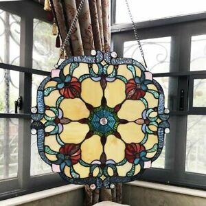 "18"" W Stained Glass Window Panel Victorian Tiffany Style Round"
