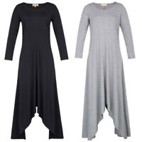 KK Women's Casual & Loose Long Sleeve Crew Neck Irregular Hem Dress New S~XL
