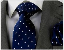 NUOVO Stilista Italiano Navy Blu & Bianco a Pois Cravatta Di Seta & Hanky