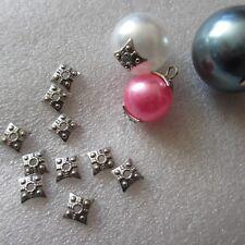 20 un. Tapas de perlas de plata tibetana Collares termina joyería artesanal 01815 7 mm cuadrado