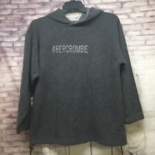 ABERCROMBIE Men Pullover Fleece Hoodie color Grey Sz.Medium Draw String Waist