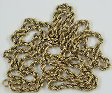 """Vintage 14K Gold 28.5"""" TWISTED ROPE NECKLACE CHAIN 3MM"""