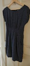 Emily And Fin Dress Navy White Polka Dot Tulip Style Size Medium Pockets