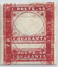 SARDEGNA 1855 c.40 DOPPIA STAMPA DEL RIQUADRO TL RIMANENZA DI STAMPERIA
