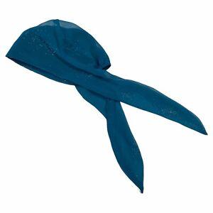 Turban Plus Specialty Headware Womens Hair Wrap Blue Glitter Cover Tie Back