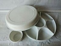 3Pc Tupperware Vintage Divided Veggie/fruit PARTY TRAY Dip Bowl #1665 1666 1667