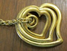 """Avon Triple Floating Heart Group 15"""" Gold Clad Open Link Chain Necklace(129"""