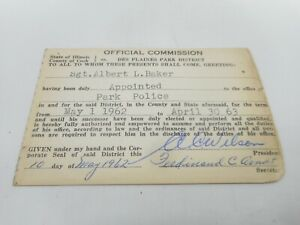 VINTAGE 1962 STATE OF ILLINOIS COOK COUNTY POLICE DEPARTMENT COP PERMIT LICENSE