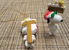 (2) Whitman's Snoopy Joe Cool & Woodstock Ornament Leaning on Sign Christmas Lot