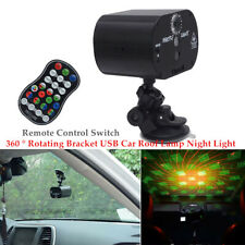 360°USB Car Roof Lamp Night Light RGB Remote Control Switch Projector Atmosphere