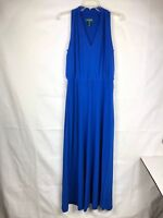 Ralph Lauren Women's Maxi Dress Size 8 Blue Sleeveless V-neck Pleated  71