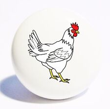 White Farm Rooster Chicken Home Decor Ceramic Kitchen Knob Drawer Cabinet Pull