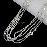 """Wholesale 10pcs 2mm 925 Silver Plated Double Water Wave Chain Necklace 16""""-30"""""""