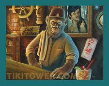 Tiki Bar Bartender Chimp Ape Monkey  Fez Lowbrow Pop Art Home Decor Print