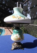 """Vintage 19"""" GWTW Style Hurricane Lamp With Hand Painted Flowers"""