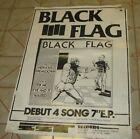 1979 PUNK ROCK BLACK FLAG PROMO POSTER 4 SONG LP NERVOUS BREAKDOWN FIX ME WASTED