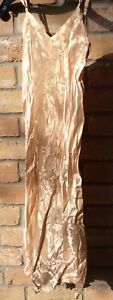 1930s Champagne Satin Slip Gown Rayon Sz 34 Costume Prop Design BADLY DAMAGED