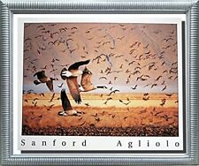 Canada Geese Birds Flying Animal Wall Decor Silver Framed Art Print Picture