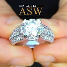Diamond Engagement Ring Halo Bridal 2.70ctw Heavy 14k Solid White Gold Round Cut