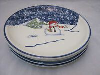 "Thomson Pottery SNOWMAN 4-7 1/2"" Salad Dessert Plates Christmas Dinnerware EUC"