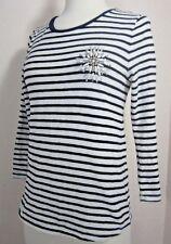 J. Crew Striped Painter T Jewel Broach Womens Size Small Blue Stripe Cotton