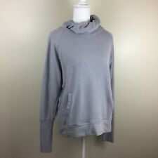 Zella Womens M Medium Light Gray Knot Detail Collar Long Sleeve Pullover Shirt