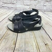 CLOUD STEPPERS By CLARKS Comfort Wedge CADDELL Sandals Women's Size 9 Black