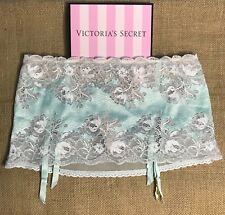 Victoria Secret Turquoise Blue Lace Garter Thong Panty - Size Medium M *NWT*