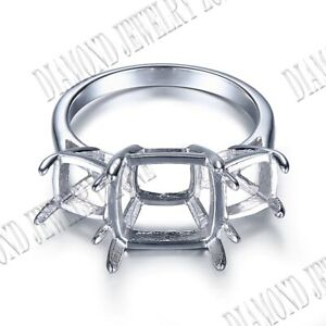 Solid 10K White Gold 11mm&6.5mm Cushion Prong Set Three Stones Engagement Ring
