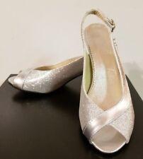 "Open Toe Sling back Silver Metallic Wedding Shoe WMN Size 7.5"", 39 Vero Cuoio"