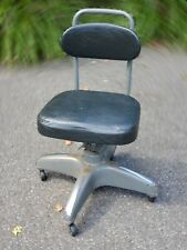 Cosco Office Drating Chair Mid Century Modern Stool Tanker Desk metal Fabric Vtg