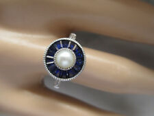 Beautiful Perl and Created Blue Sapphire 14k White Gold Plated Engagement Ring