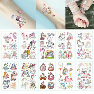 10Sheets Temporary Glitter Tattoos Stickers Party Bags Unicorn Princess Girls N