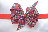 RED TARTAN RIBBON 3 INCH HAIR BOW ELASTIC HEADBAND BABY TODDLER GIRLS NEW