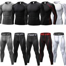 Compresión capa base para Hombre Correr Gym Top Camisa Manga Larga Atlético Pantalones Caliente