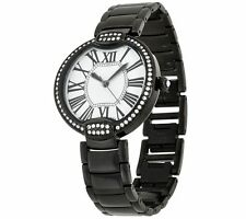 BRONZO ITALIA BLACK BRONZE PAVE CRYSTAL BEZEL ROUND PANTHER LINK WATCH QVC $116