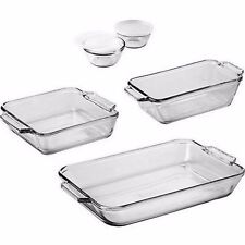 Glass Pan Baking Set Bakeware Pans Cups 7-Piece Loaf Cake Custard Oven Safe Gift