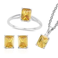 YELLOW SIMULATED DIAMOND STERLING SILVER JEWELRY SET RING 8 EARRINGS PENDANT