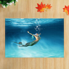 Cute Mermaid in the Sea Water Bathmat Bathroom Rug Non-Slip Door Mat 16x24""